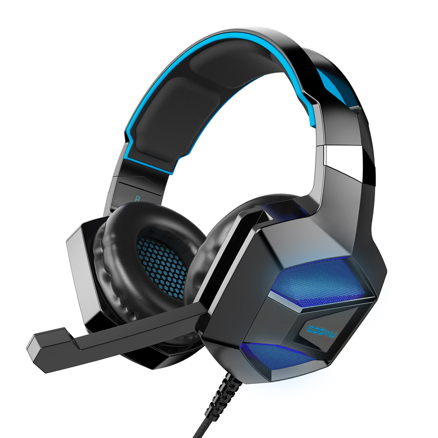 COOAU Stereo Gaming Headset with Mic, LED Lights, Volume Control for PS4, PC, New Xbox One, iPad, Laptop, Smartphones, Noise Cancelling Over-Ear Headphones with 3.5mm Plugs and USB Plugs CU002-BB