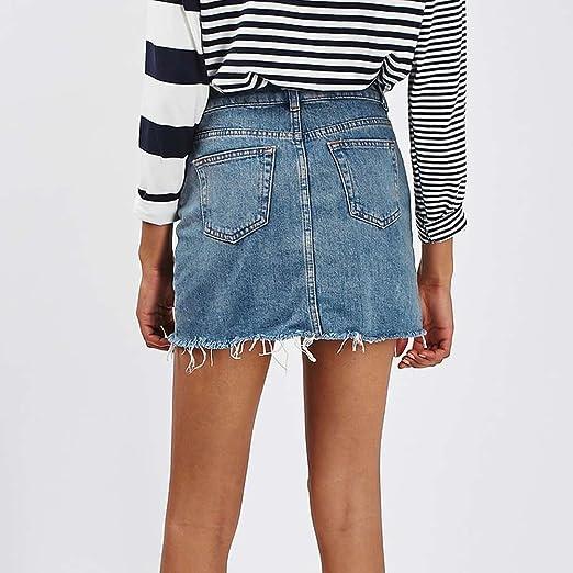 Odejoy Vintage Minigonna Donna Vita Alta Estate Gonna Di Jeans  Elasticizzata Gonna Denim Donna Vestiti di ... 604dd7dec94