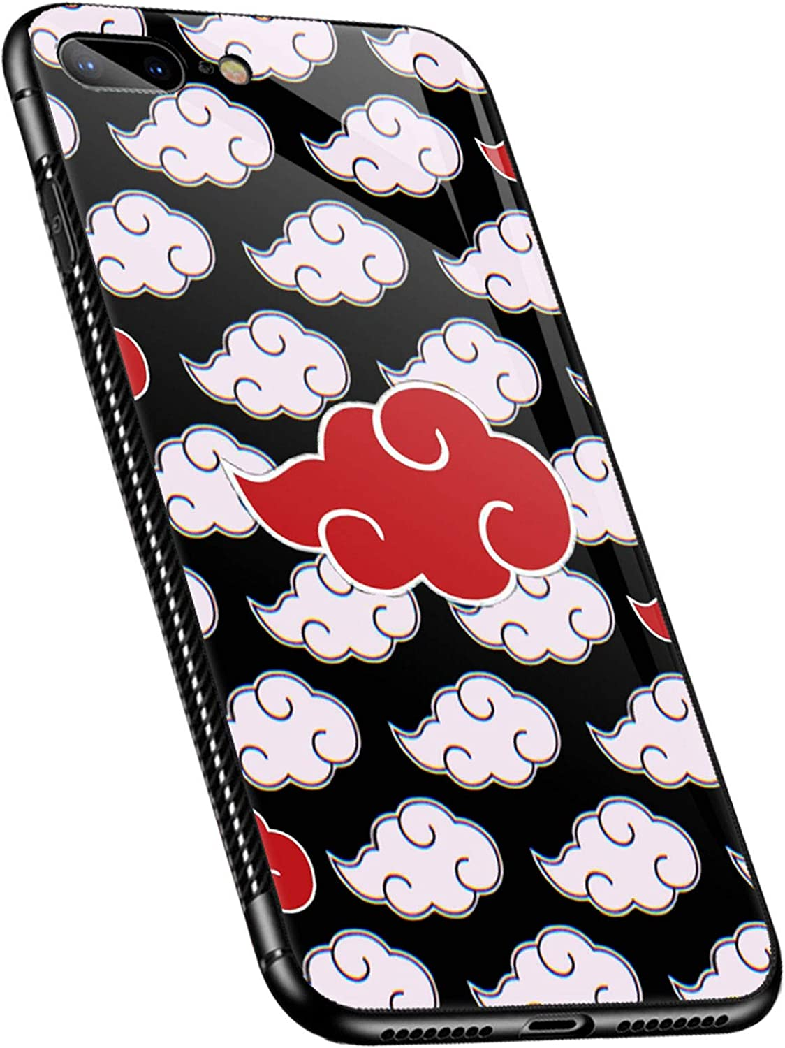 iPhone 8 Plus Case,Red and White Clouds Pattern iPhone 7 Plus Cases for Girls Women,Ultra Protection ShockproofSoft Silicone TPU Non-Slip Back Compatible with Apple iPhone 8 Plus/7 Plus