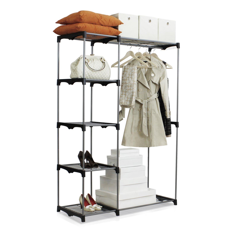 Amazon.com: Furinno WS15005 Wayar Double Rod Freestanding Closet, Gray:  Kitchen U0026 Dining