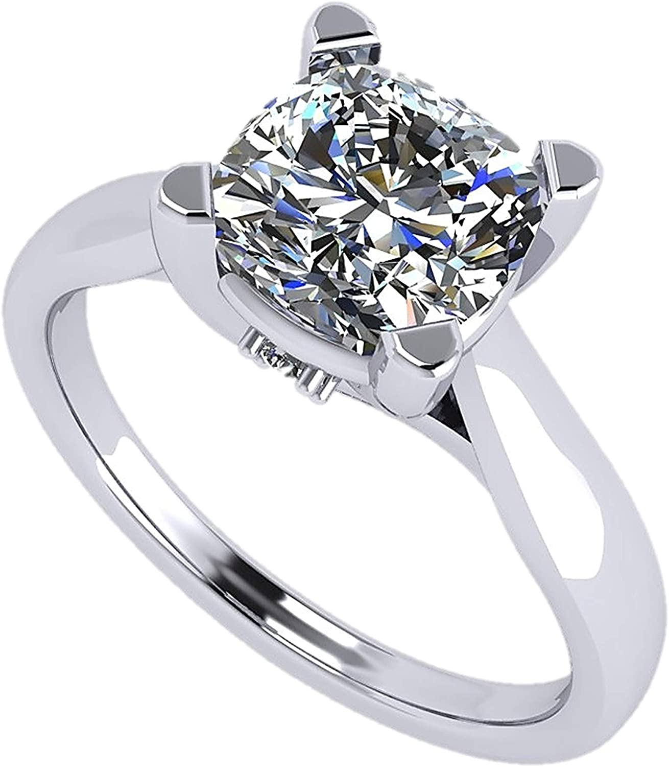 Cushion Cut Simulated Diamond Solitaire Engagement ring Lucita style 1.5 to 3.0 carat Swarovski Zirconia