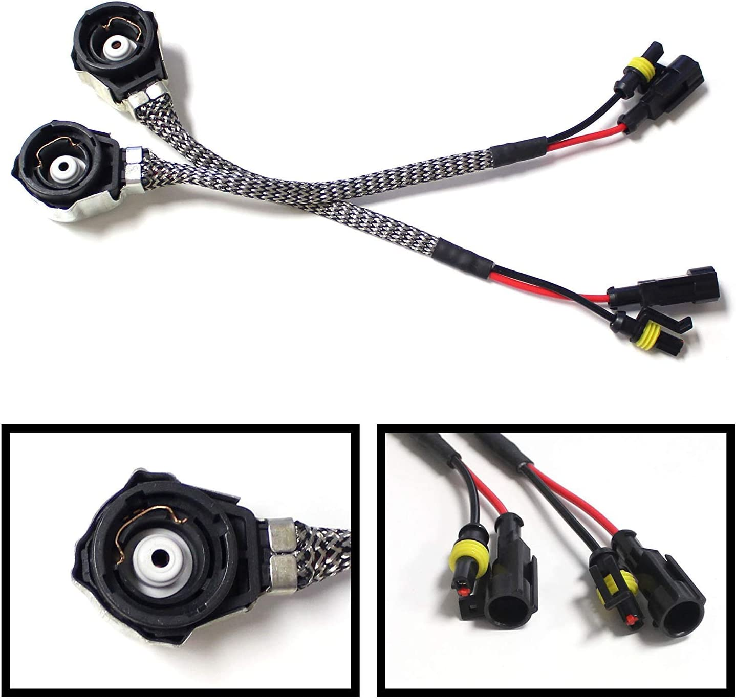 OEM-Spec D2 AMP Adapters To D2S D2R Bulbs Converters Compatible With Aftermarket Xenon Headlight Kit Ballast//Controller iJDMTOY 2