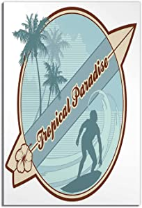 Hitecera Surf,Room Decor for Men,Retro OKJEFF 191486 Silhouette of a Surfer and Palms Tropical Paradise Wave,Bathroom Pictures Wall Decor,12''x16''