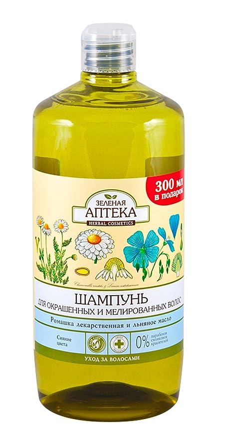 59285 Champú para cabello dañado y débil camomila y aceite de linaza 1000 ml verde farmacia