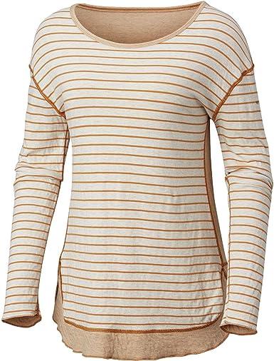 Columbia Winter Adventure Long Sleeve tee Camiseta para Senderismo, Rayas Bisque Claro, S para Mujer: Amazon.es: Ropa y accesorios