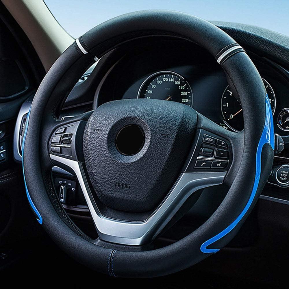 Breathable Universal 15 Inch Sport Grip Dynamic Cool Design Odorless Black Microfiber Soft Leather Car Steering Wheel Cover for Women Men Anti-Slip,Green