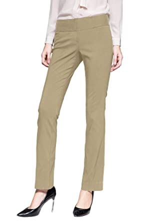 800411378 Women's Ease in to Comfort Fit Barely Bootcut Stretch Pants Office Casual  Business Wear Khaki