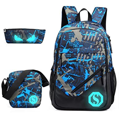 129f255a896f Teens Backpack Boys Girls Unisex School Bag Florescent Mark 3 Sets Travel  Daypack