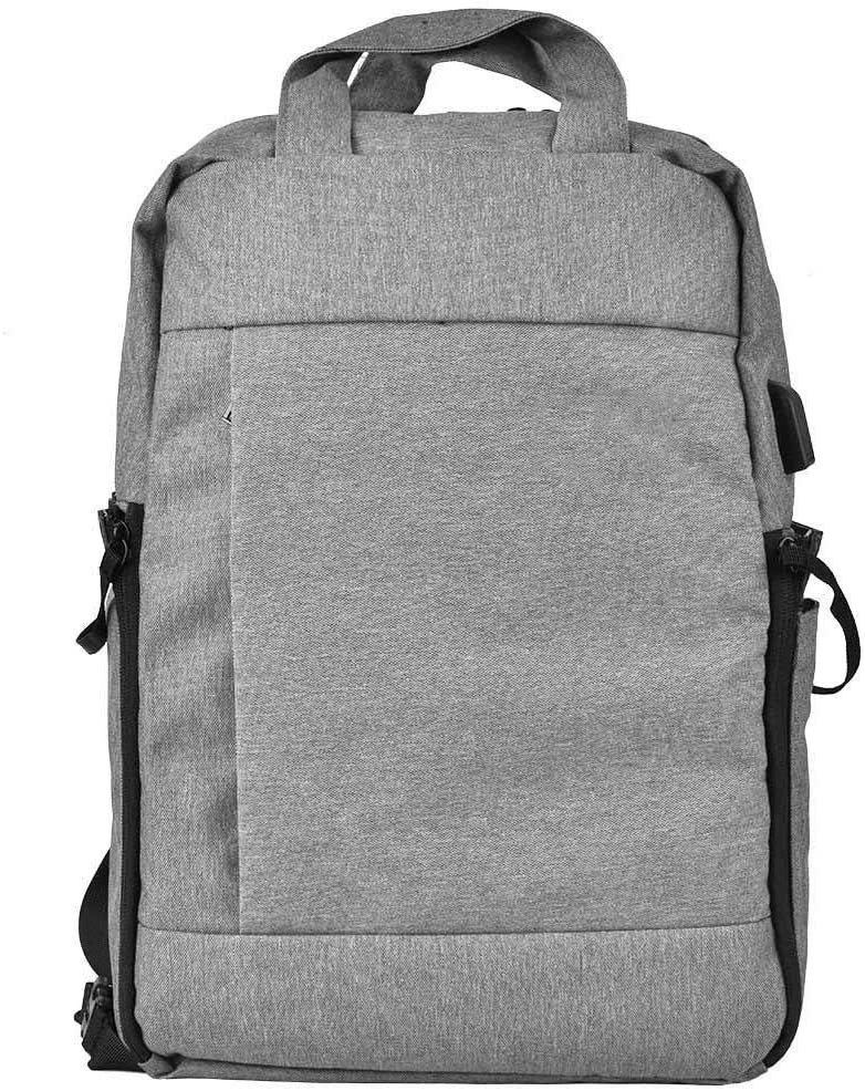 Dark Grey Digital Camera Backpack Bag with USB Interface,Waterproof Nylon Computer Storage case,Double Opening Design,Back tie Rod Fixing Strap,External Draw-bar Box