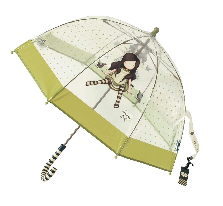 Paraguas Gorjuss Santoro infantil. Modelos en color verde o rosa