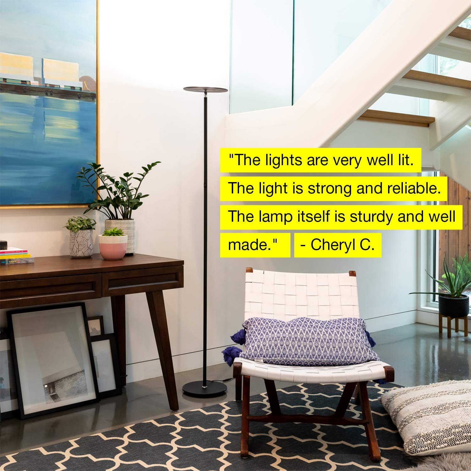 Brightech Sky LED Torchiere Super Bright Floor Lamp   Tall Standing Modern  Pole Light For Living Rooms U0026 Offices   Dimmable Uplight For Reading Books  In ...