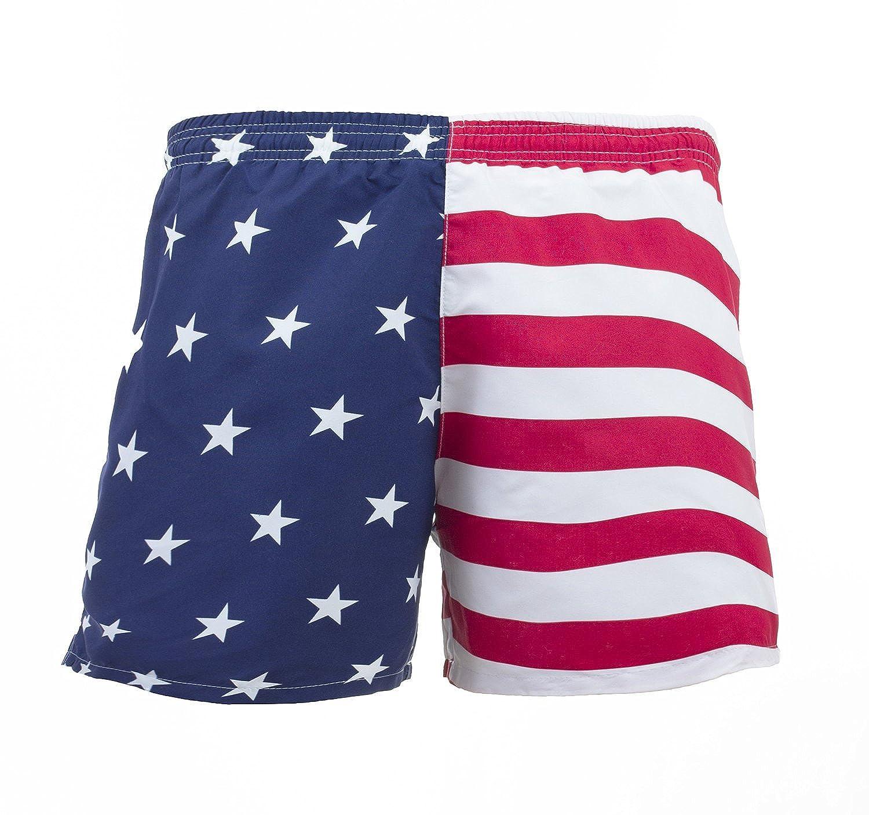 5efc2f4ac8 UZZI Men's American Flag Swim Trunks | Amazon.com