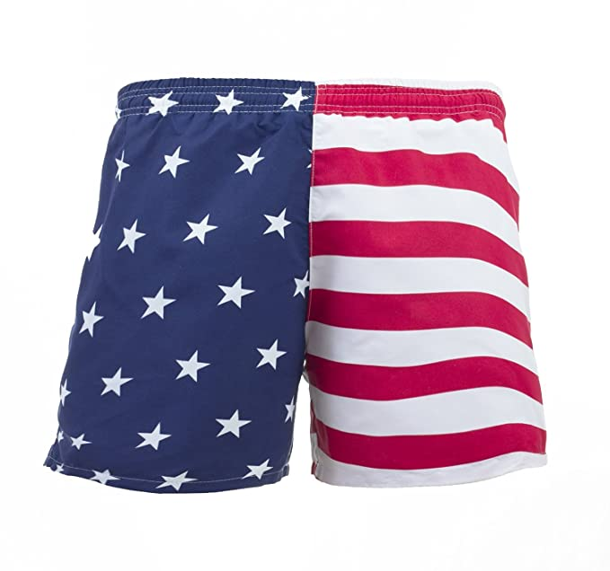 46077a2899 VBRANDED Men's American Flag Swim Trunks Red/Blue S