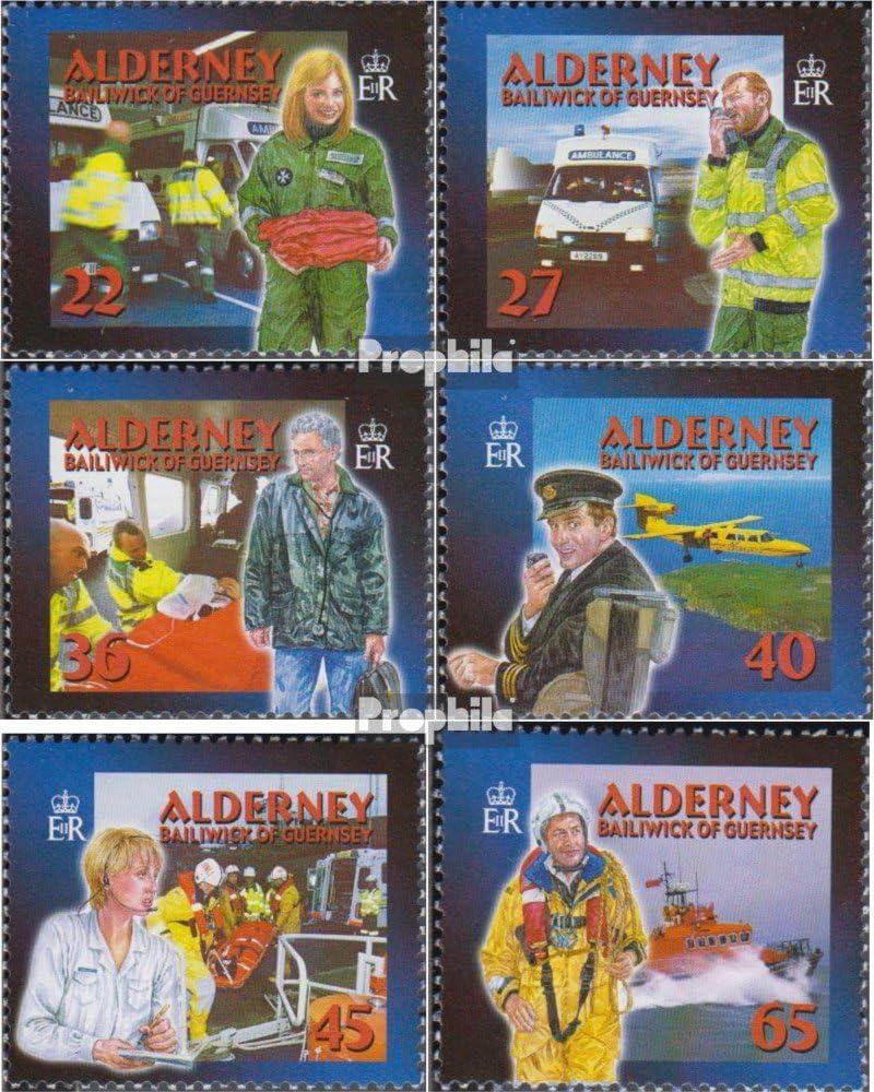compl/ète.Edition. Alderney mer.-no.: 199C-204C Pompiers // Police Timbres pour Les collectionneurs 2002 Les Services de Secours GB