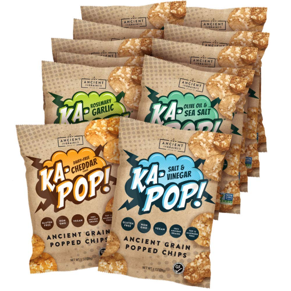 Ka-Pop! Popped Chips, Variety Pack (1oz, Pack of 12) - Allergen Friendly, Ancient Grains, Gluten-Free, Paleo, Non-GMO, Vegan, Healthy, Whole Grain Snacks by Ka-Pop!