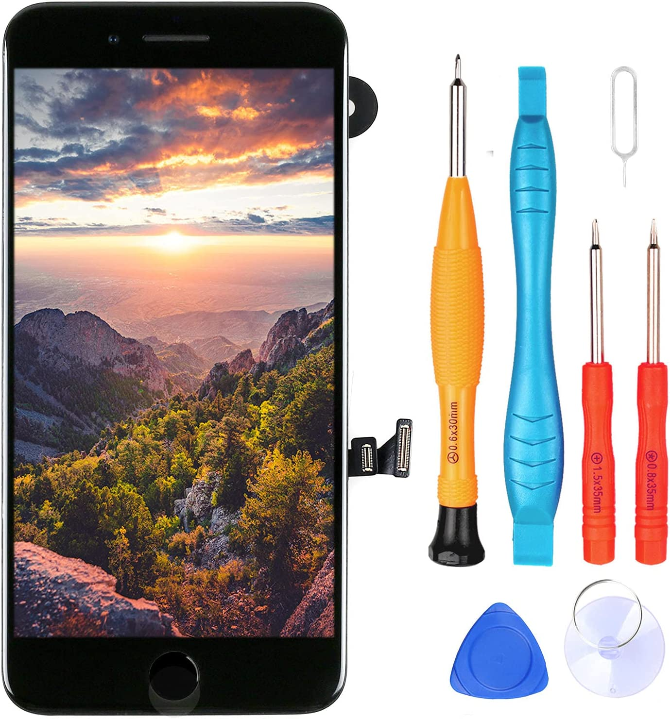 Ayake for iPhone 7 Plus Screen Replacement with Home Button Black, Full Assembly Retina LCD Touch Display Digitizer with Front Camera+Earpiece Speaker+Proximity Sensor+Tools for A1661, A1784, A1785