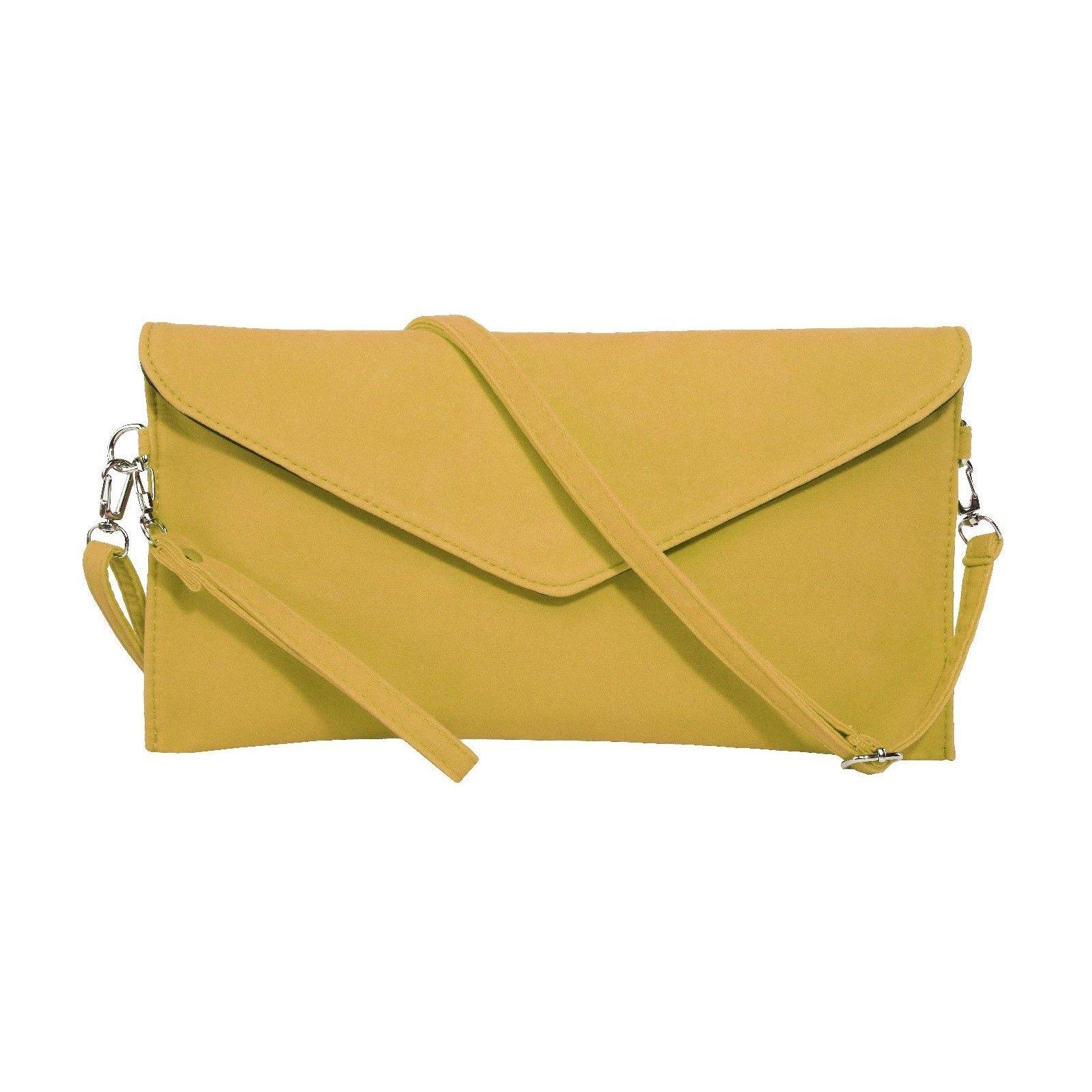 Jieway Women's Faux Suede Evening Clutch Bag Crossbody Bag Shoulder Handbags (Yellow)