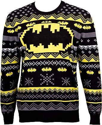 BATMAN Patterned Ugly Holiday Sweater (Large) Black