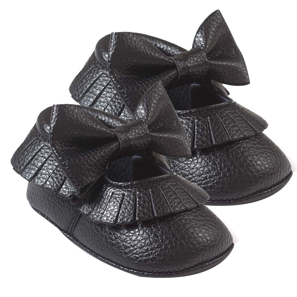 White 11cm Alamana Bowknot Tassel Infant Baby Girls Soft Sole Anti-Slip Prewalker Toddler Shoes