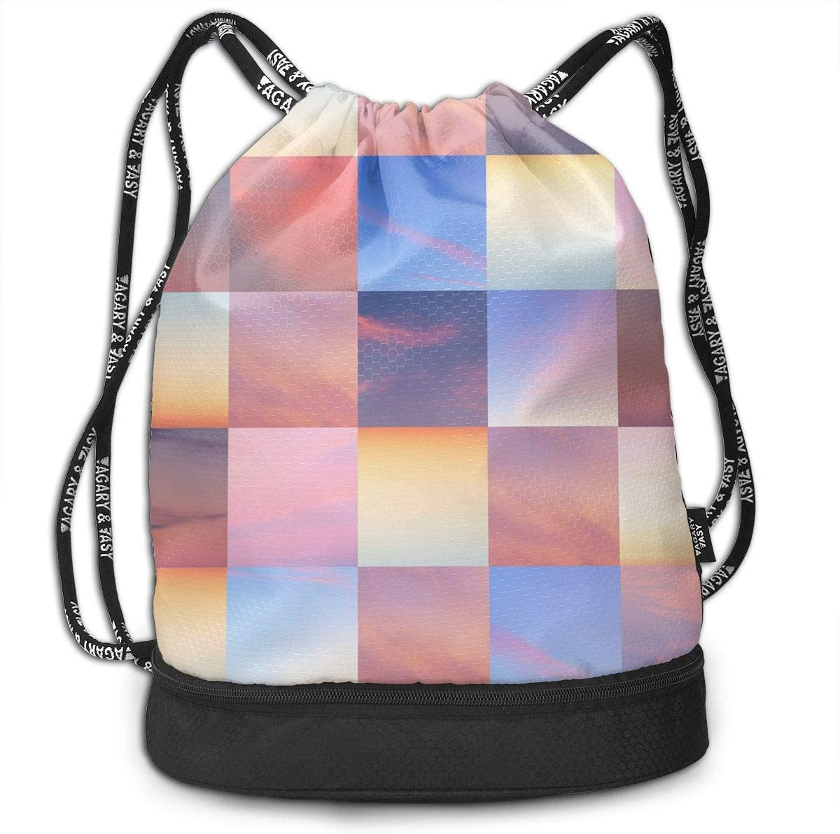 HUOPR5Q Heart Grey Yellow Drawstring Backpack Sport Gym Sack Shoulder Bulk Bag Dance Bag for School Travel
