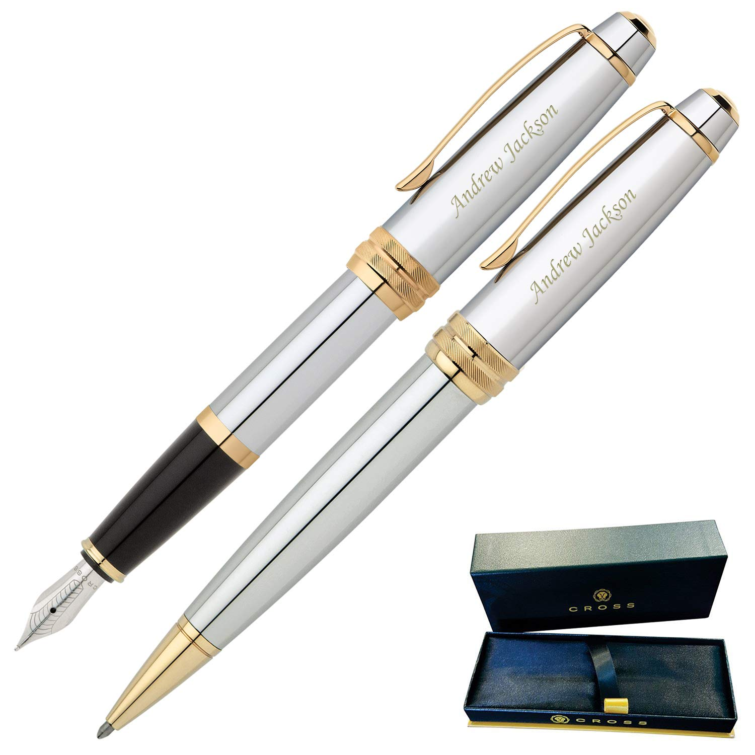 Dayspring Pens | Engraved/Personalized Cross Bailey Medalist Ballpoint and Fountain Gift Pen Set. Custom Engraved Case Included by Dayspring Pens (Image #1)
