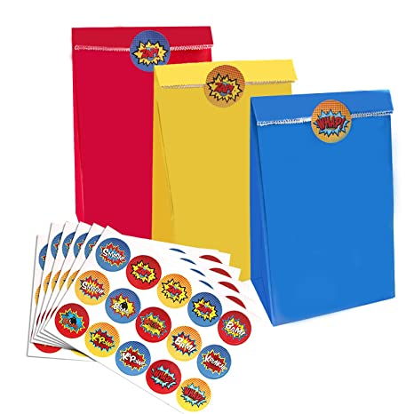 SHI WU Bolsas y Adhesivos para Fiestas de superhéroes - 30 Bolsas de Fiesta de 3 Colores, de Color Amarillo y Azul con 60 Pegatinas de superhéroes, ...