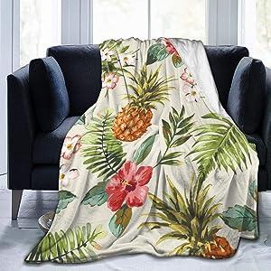 AUISS Plush Throw Velvet Blanket Palm Leaf Pineapple Fluffy Fleece Carpet Living Room Bed for Men Dual Sided Sleep Mat Pad Flannel Cover for Winter