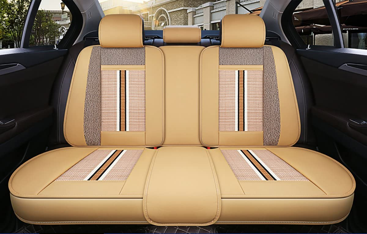 Beige ELE TEC PU Leather Ice Silk Auto Covers Professhional Breathable Car Seat Protector Fit for Most 5 Seater Car All Year Universal