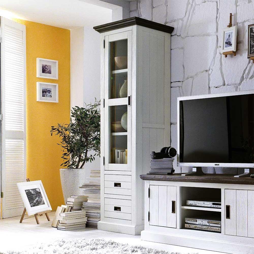 Wohnzimmer Vitrine im Landhausstil Weiß Braun Pharao24 bestellen