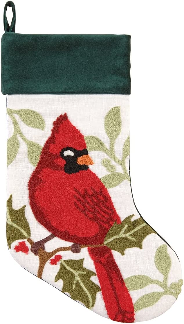 Amazon Com C F Home Cardinal Christmas Tufted Stocking Multi Home Kitchen