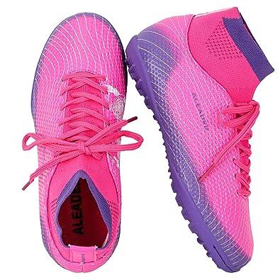 ALEADER Girls Soccer Shoes High Top Turf Football Boots for Training  Fushia Purple 1 M 7e58c770a78