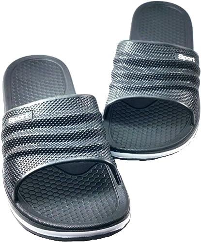 Mens Rubber Sandal Slipper Perfact Cushion Shower Beach Shoe Slip on Light As a Feather 12, BLACK Black