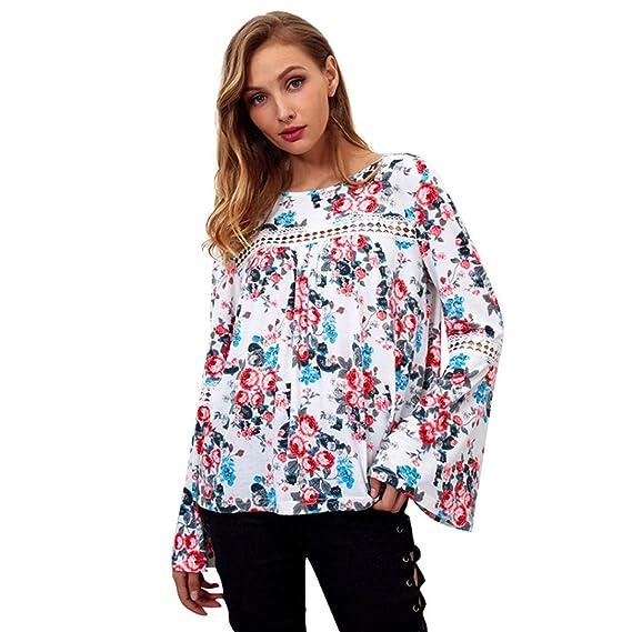 Mujer Casual Blusa de Manga Larga con Vuelo Camisa Estampada con Flores O-Cuello Ahueca hacia Fuera Remata ❤ Manadlian: Amazon.es: Ropa y accesorios