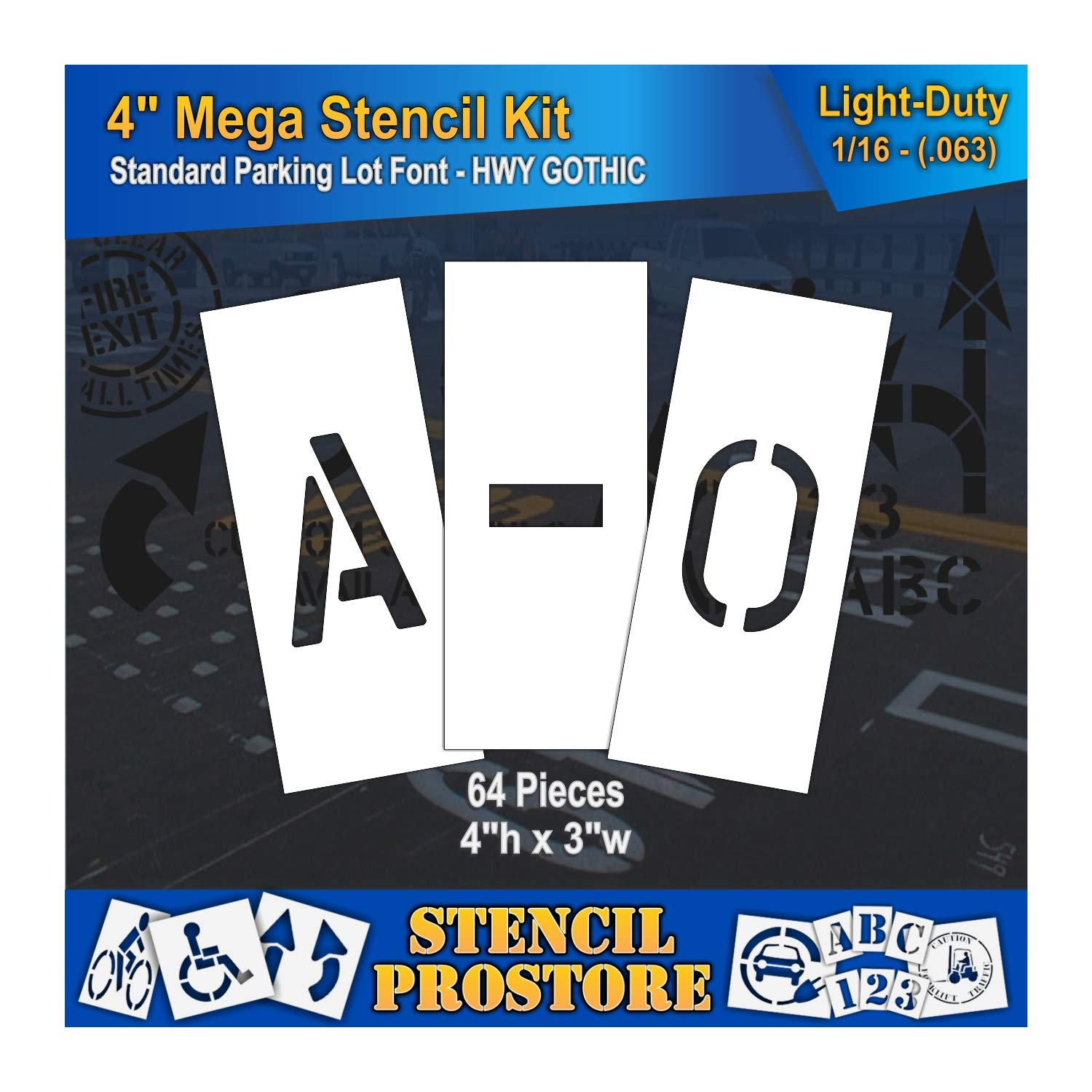 Curb & Median Stencils - 4 inch MEGA Alpha/NUM Set - (64 Piece) - 4'' x 3'' x 1/16'' (63 mil) - Light-Duty