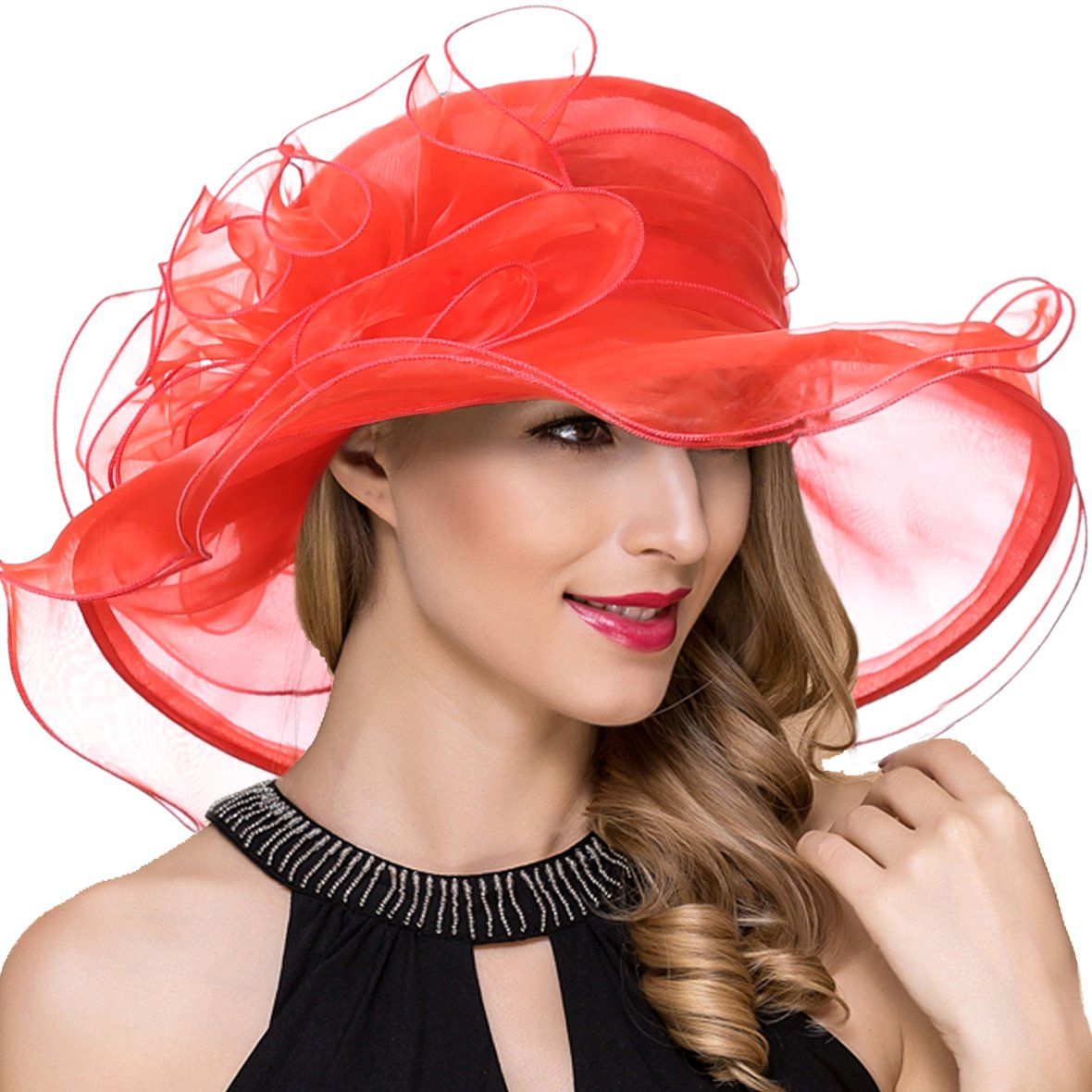 Womens Wide Brim Kentucky Derby Church Dress Fascinator Tea Party Organza Hat (S019-Red)