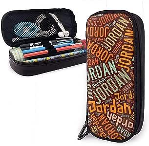 Jordan - Apellido americano Estuche de cuero de alta capacidad Estuche de lápices Estuche de papelería Organizador Titular Maquillaje de colegio Estuche de papelería para estudiantes: Amazon.es: Oficina y papelería