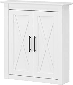 Bush Furniture Key West Bathroom Wall Cabinet with Doors, White Ash