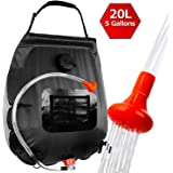 ELECTRFIRE Upgraded Solar Shower Bag Camping Shower 5 Gallon with Removable Hose and On-Off Switchable Shower Head for Campin