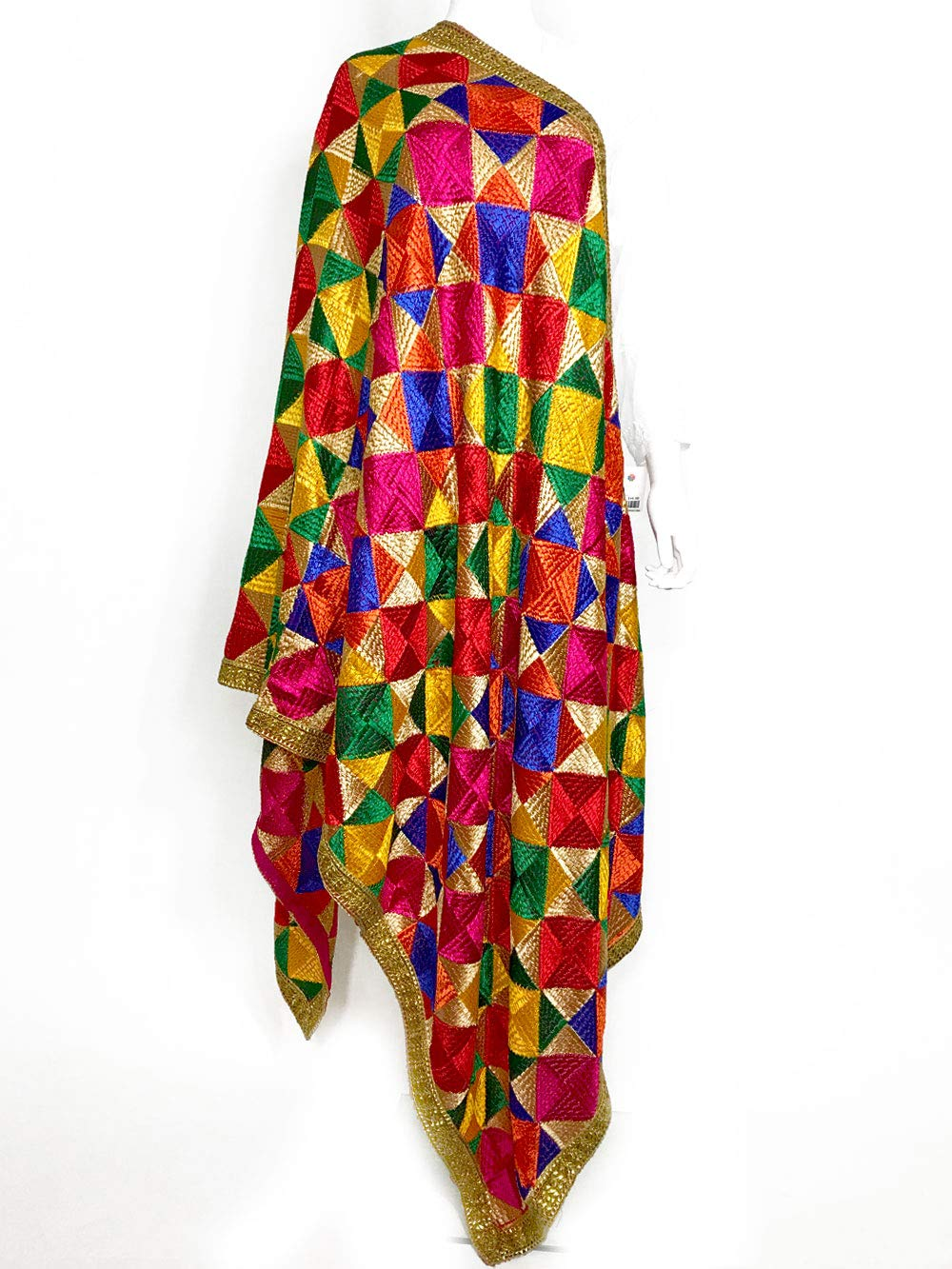 PinkPhulkari California Indian Heavy Embroidered Multi Color Phulkari Dupatta for Women/Border Scarf Shawl/Chunni