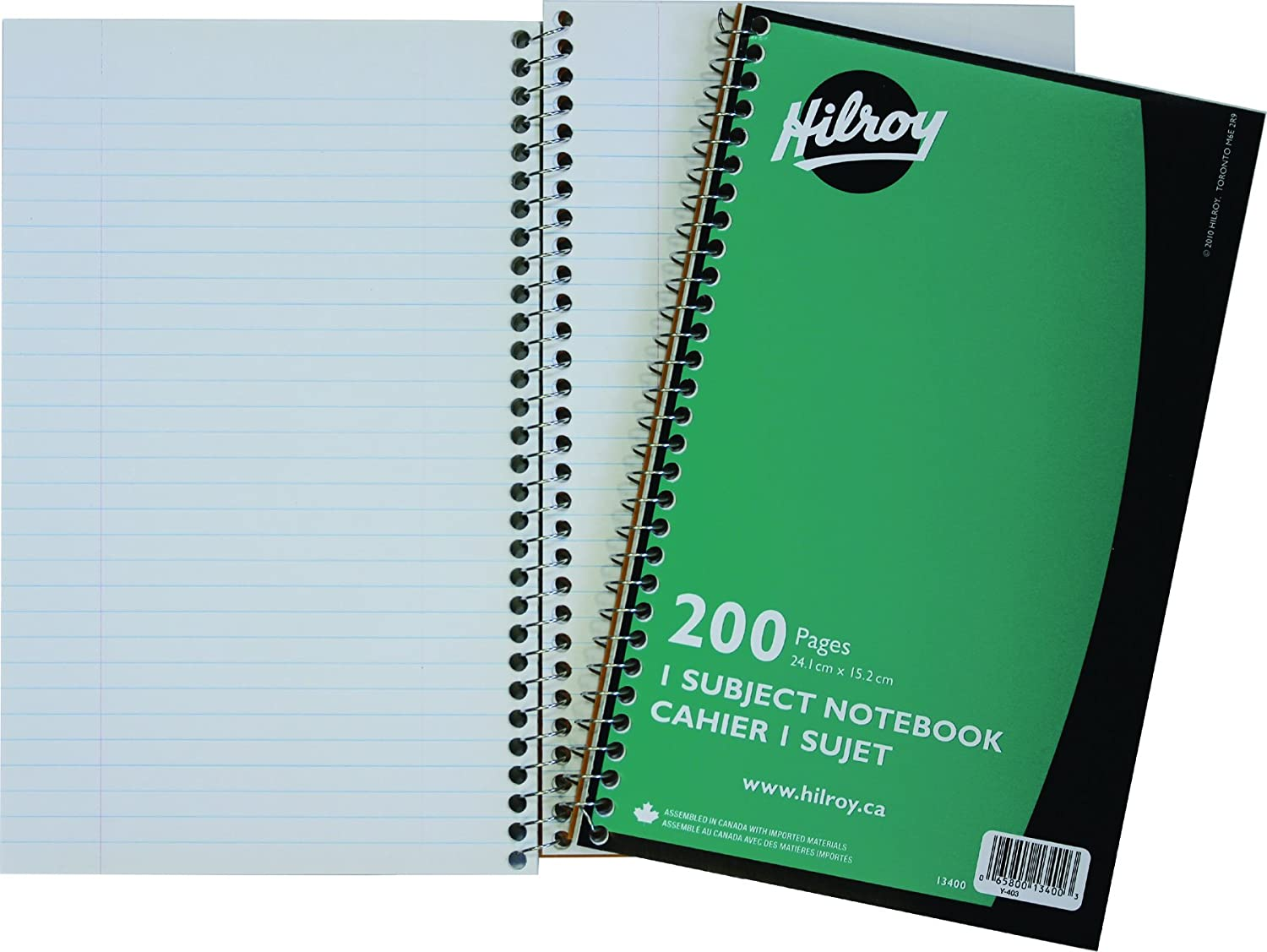 Hilroy Coil 1-Subject Notebook, Wide Ruled, 9.5 x 6 Inches, 160 Pages, Red Covers (13404)