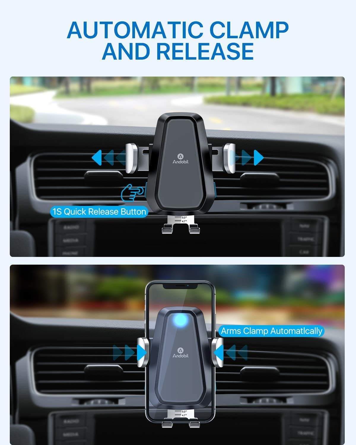 Andobil Wireless Car Charger Mount with 18W QC Adapter Samsung Galaxy S20//S10//S9//S8,Note10//9 Qi Fast Charging Auto Claming Car Holder Air Vent Dashboard for iPhone Se 2020//11//11 Pro Series//X//XS//8