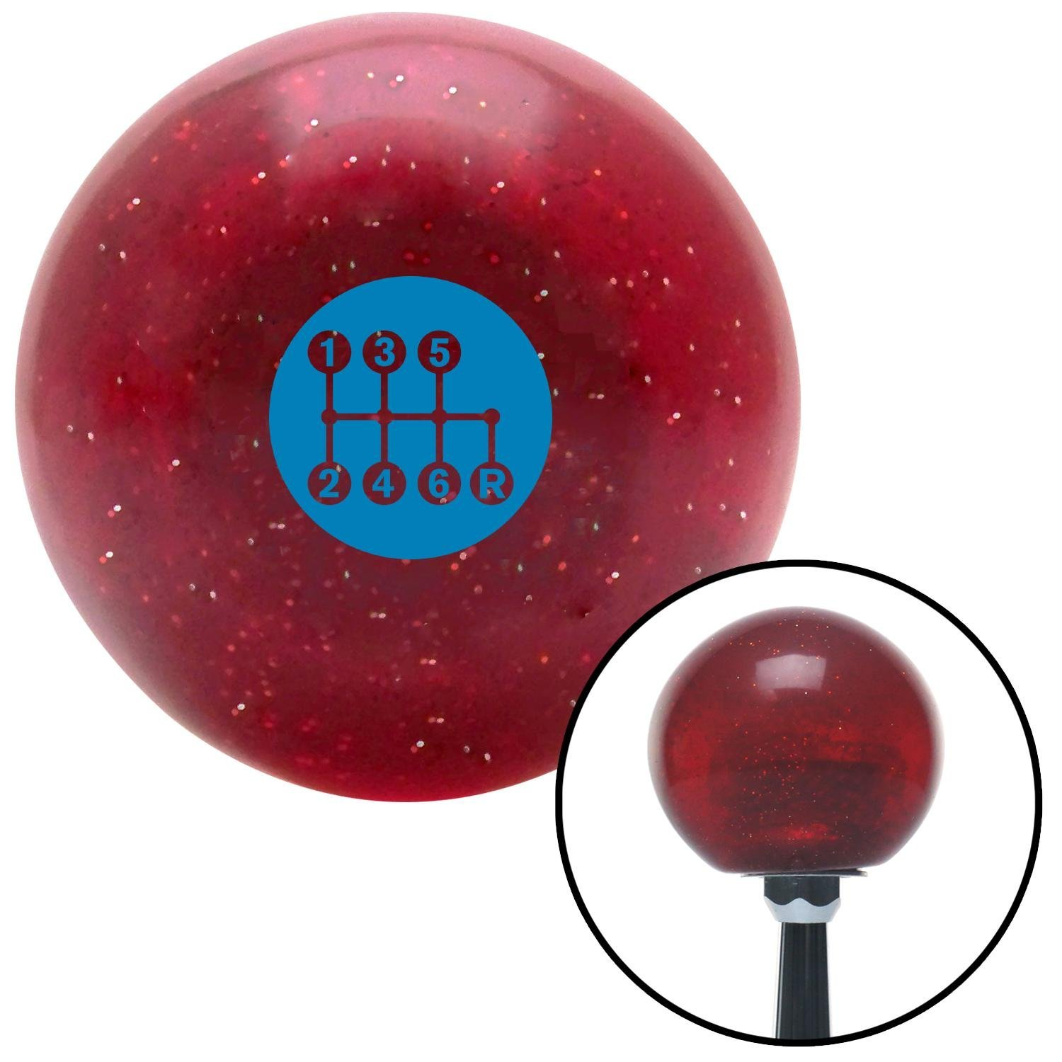 American Shifter 282765 Shift Knob Blue 6 Speed Shift Pattern - Dots 41 Red Metal Flake with M16 x 1.5 Insert