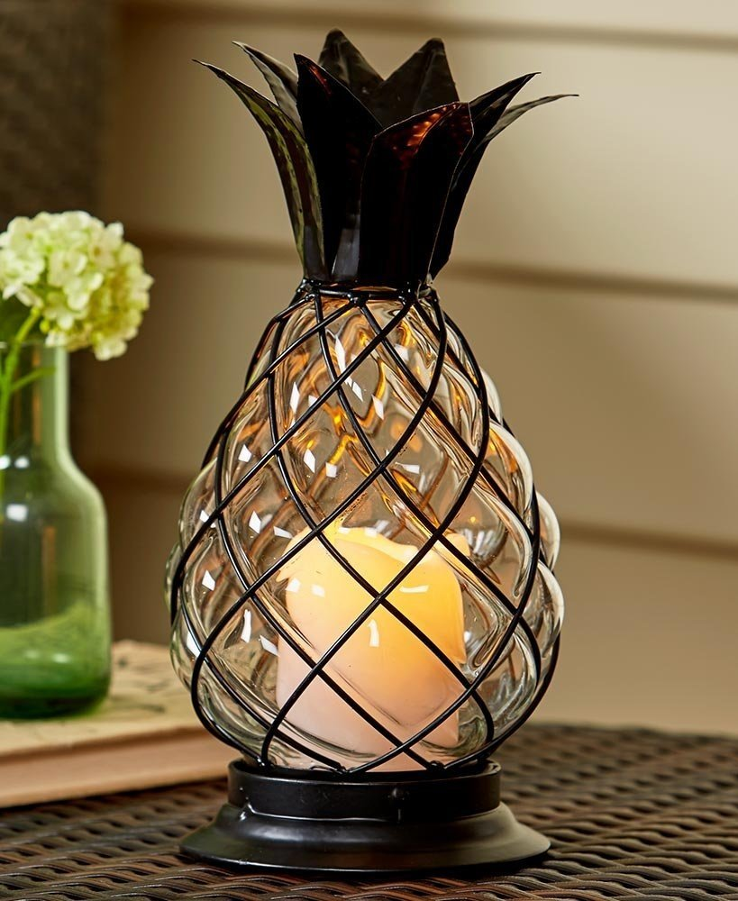 Glass Pineapple LED Hurricane Lantern by Accents Depot
