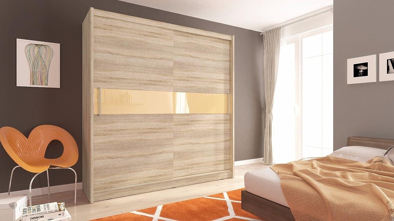 Sarah 5 – 2 puertas correderas dormitorio luz blanca color marrón oscuro madera de roble armario de estilo moderno: Amazon.es: Hogar