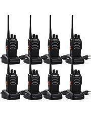 Tyhbelle BF Funkgeräte Set, Walkie Talkie 16 Kanäle 5KM Reichweite eingebauter LED-Taschenlampe 16 Kanäle Sprechfunkgerät mit Headset und Akkus (8er Pack)