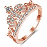 Yellow Chimes Queen Crown 18K Rose Gold Plated Designer Ring for Women and Girls