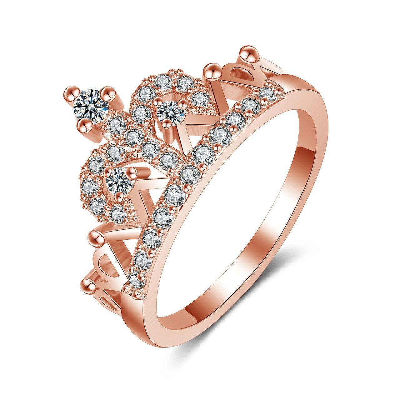 Qutool Tiara Princess Rose-Golden Queen Shape Ring Crown Rings Cubic Zirconia Tara Rings for Women/Mother/Girls/Daughters Ring-H