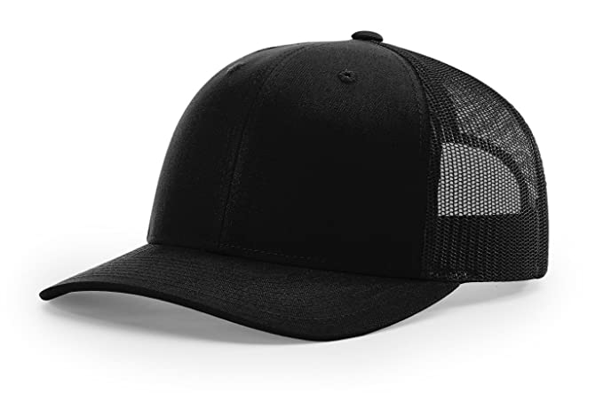 7b3974d100880 Richardson Structured Classic Trucker Snapback 112 Black at Amazon ...