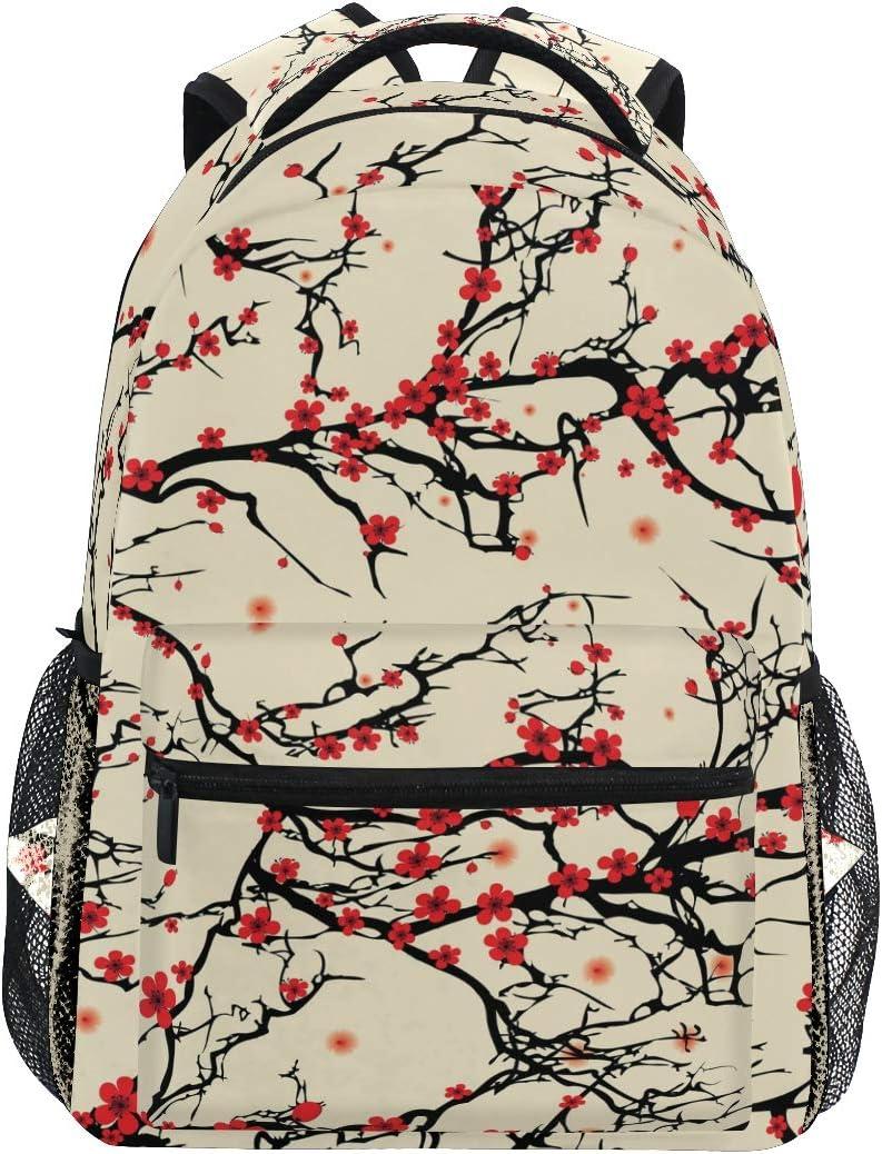 Japanese Cherry Blossom Sakura Tree Backpacks Travel Laptop Daypack School Bags for Teens Men Women
