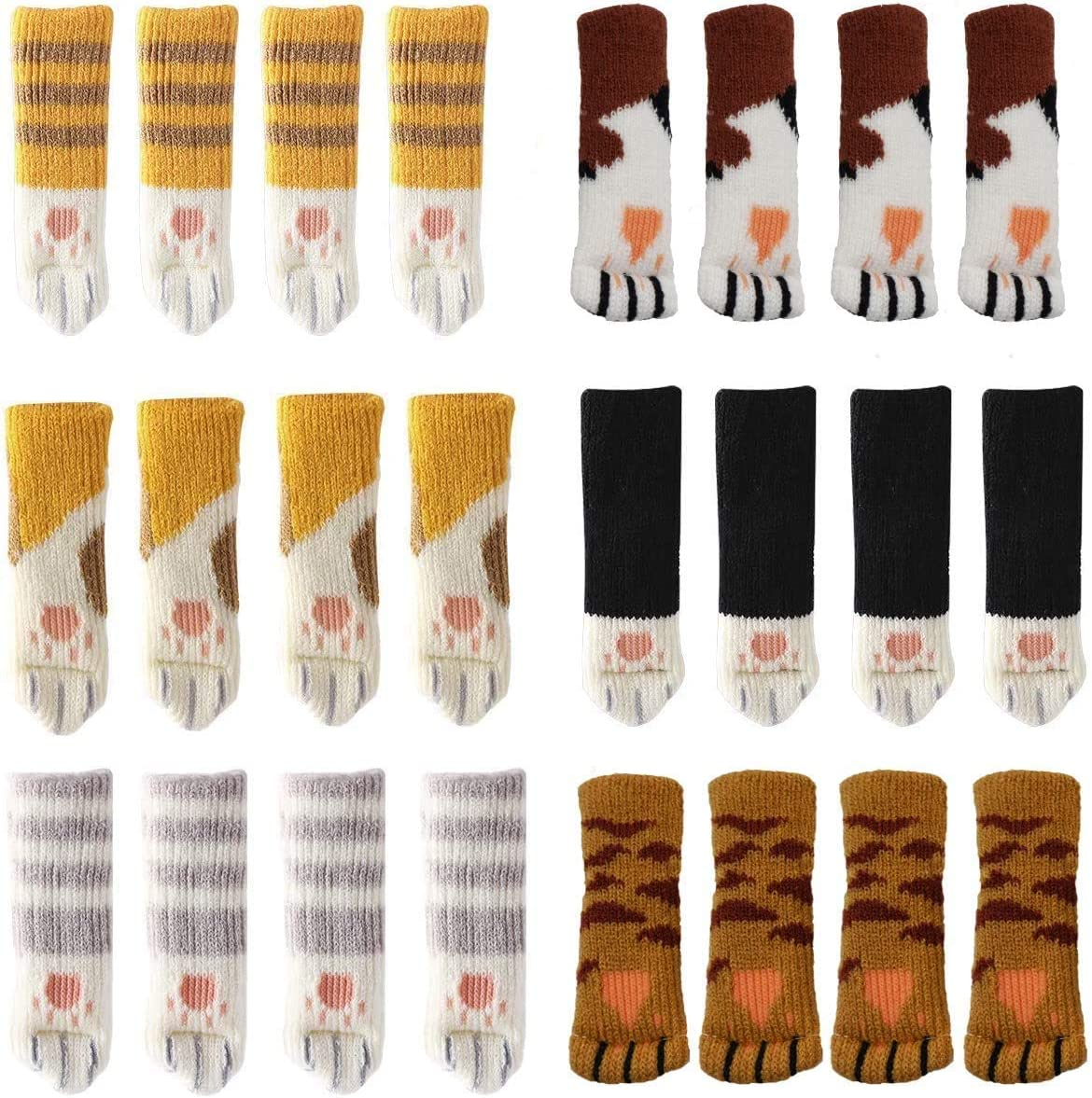 APANDA 24PCS(6 Sets) Chair Socks Fancy Table Leg Pads with Cute Cat Paws Design, Reliable Furniture and Floor Protector, Reduce Noise & Prevent Hardwood Floor from Scratches